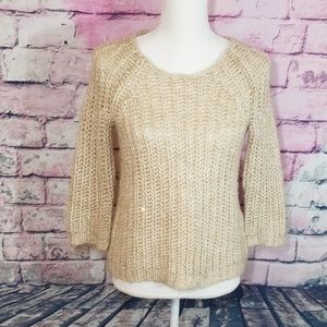 ANTHROPOLOGIE KNITTED & KNOTTED METALLIC SWEATER